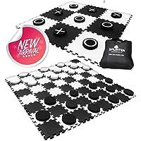 Juego de tacos gigantes de 4 pies x 4 pies | 100% espuma EVA de alta densidad y piezas | Discos extra grandes de cuadros con tablero de ajedrez y juego de lanzamiento de tacos de mesa tamaño patio