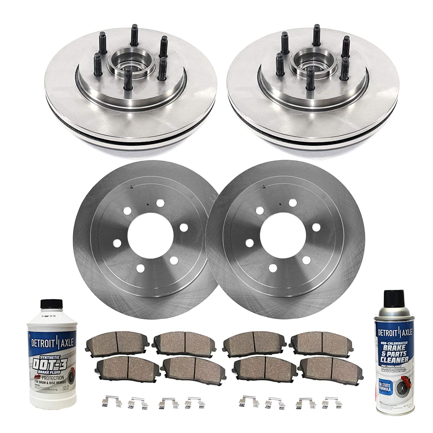 Front Brake Discs Rotors and Ceramic Pads For 2006-2008 Ford F-150 Lincoln Mark