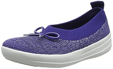 ef2b3df98002 FitFlop Women s Uberknit Ballerina with Bow Indian Blue Metallic 5