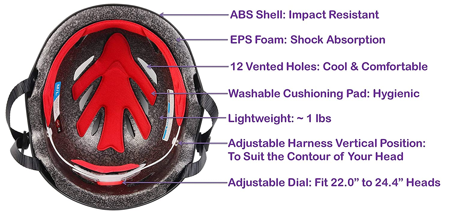 Adjustable Dial for Head Circumference 22 to 24.4 Head Size Medium to Large Commuter Bicycle Helmets for Men and Women - Certified for Safety SG Dreamz Adult Bike Helmet