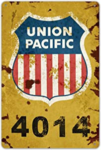 Ylens Union Pacific Railway Logo Train Railroad Rustic Retro Wall Decor Metal Tin Sign 8x12in