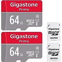 Gigastone Micro SD Card 64GB 2-Pack MicroSD XC U1 C10 with Mini Case and MicroSD to SD Adapter High Speed Memory Card Class 10 UHS-I Full HD Video Nintendo Gopro Camera Samsung Canon Nikon DJI Drone