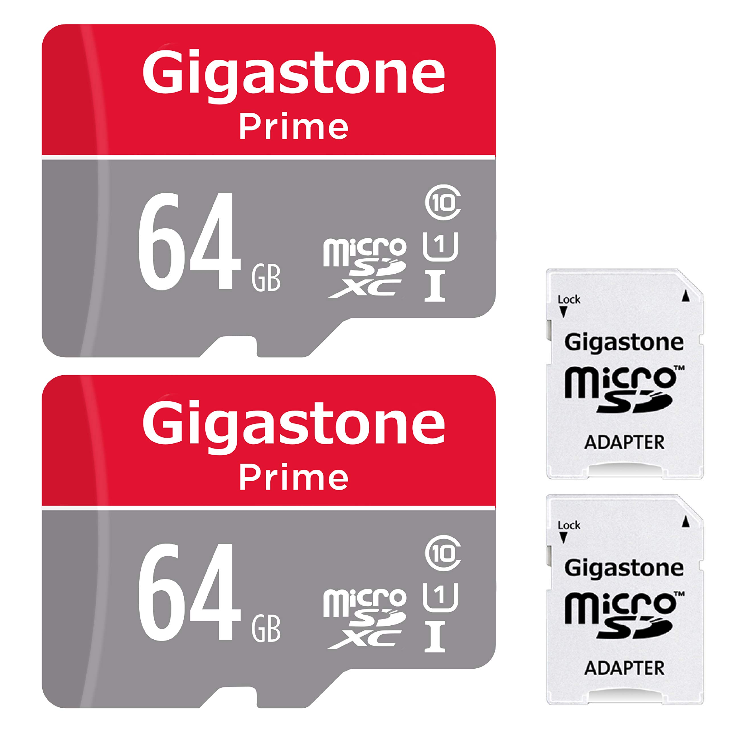 Gigastone Micro SD Card 64GB 2-Pack MicroSD XC U1 C10 with Mini Case and MicroSD to SD Adapter High Speed Memory Card Class 10 UHS-I Full HD Video Nintendo Gopro Camera Samsung Canon Nikon DJI Drone by Gigastone