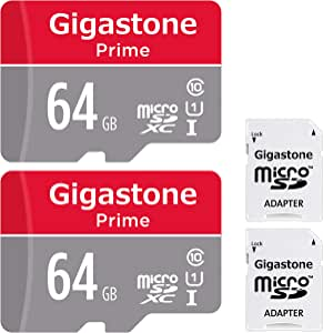Gigastone Micro SD Card 64GB 2-Pack MicroSD XC U1 C10 with Mini Case and SD Adapter High Speed Memory Card Class 10 UHS-I Full HD Video Nintendo Switch Dash cam GoPro Camera Samsung Canon Nikon Drone