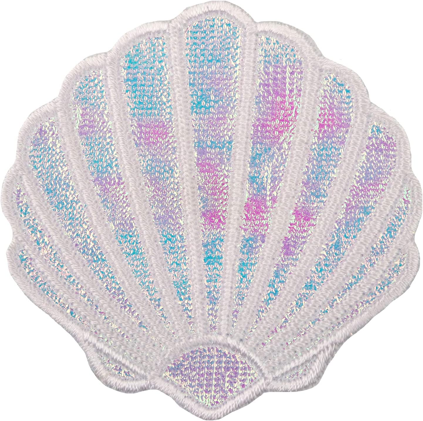 Simplicity Pink and Blue Clam Shell Applique Clothing Iron On Patch, 2.25'' x 2.25''