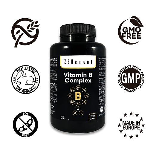 Complejo de Vitaminas B, 200 perlas | Contiene las ocho Vitaminas B (B1, B2, B3, B5, B6, B12, Biotina y Ácido Fólico) + Vit. C y E | Para mejorar la energía ...