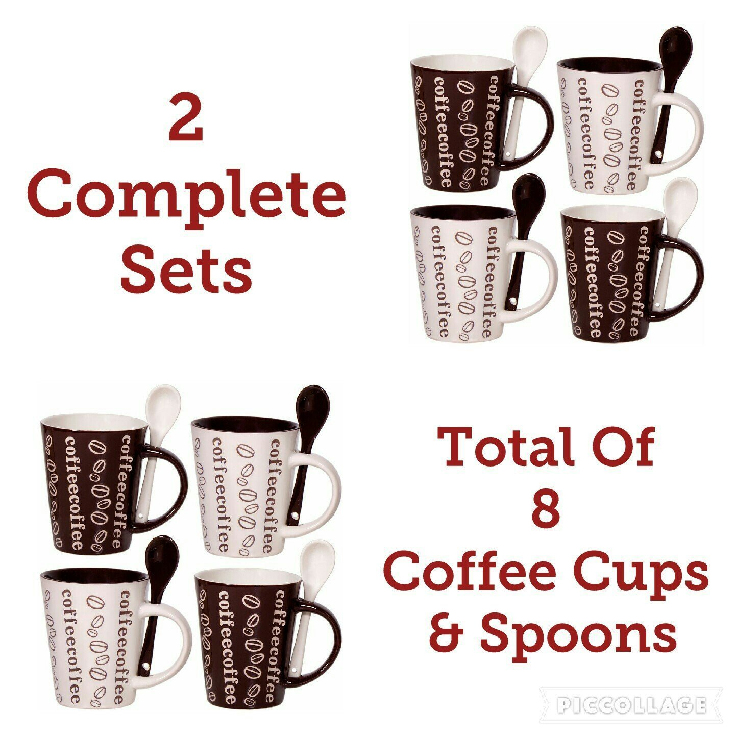 Cafe Style 10 Oz Coffee Mug and Spoon, (2 Set of 4 - 8 Coffee Cups in Total) Coffee Swirl - Brown, White