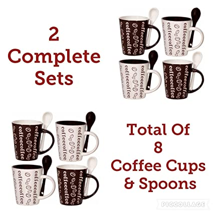Cafe Style 10 Oz Coffee Mug and Spoon, (2 Sets of 4 Coffee Cups, 8 Coffee Cups in Total), Bean Bonanza - Brown, White