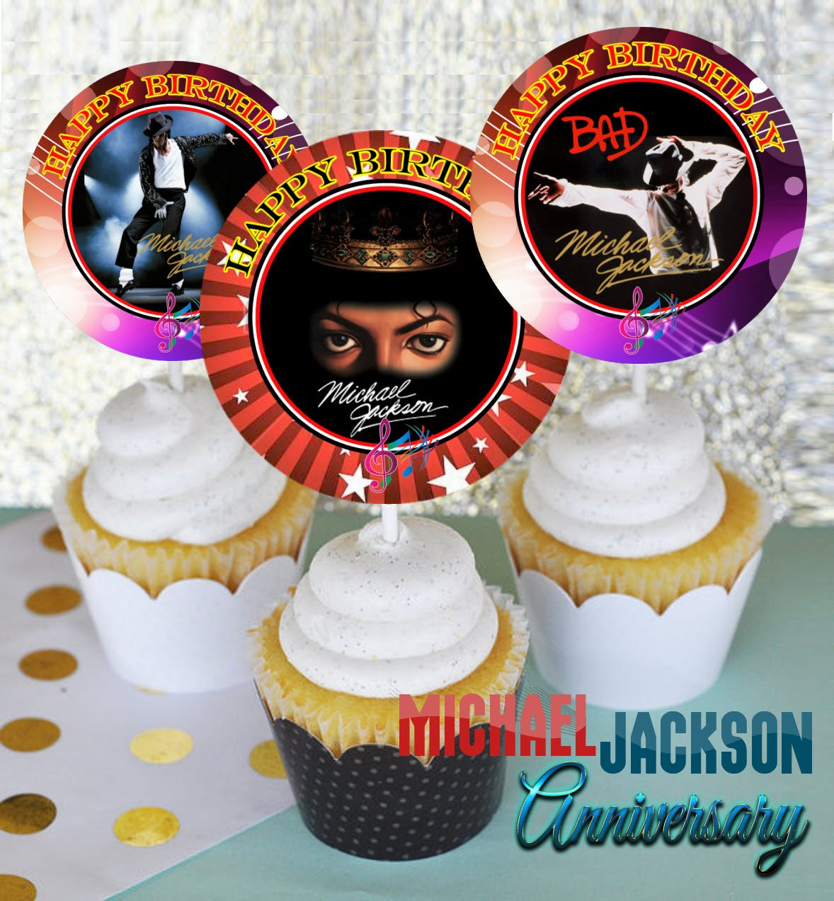 12 MICHAEL JACKSON ANNIVERSARY Birthday Inspired Party Picks, Cupcake Picks, Cupcake Toppers #1 by Crafting Mania LLC.