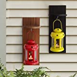 TiedRibbons Garden decoration items lantern lamps for living room with Wooden Shelve Set of 2