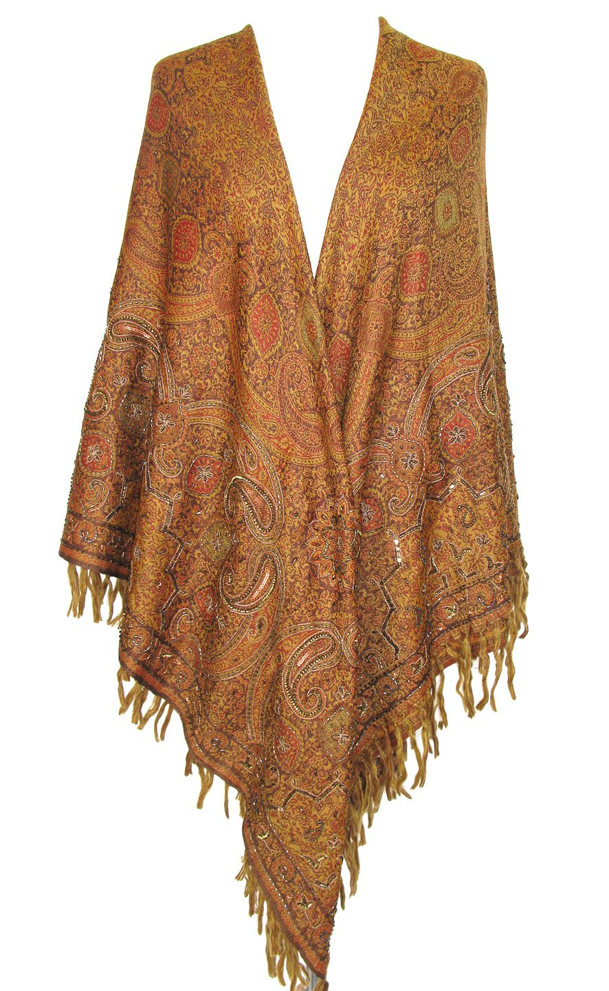 Embroidered Beaded Paisley Wool Shawl Wrap Scarf Square Throw Antique Gold 60'' x 60''