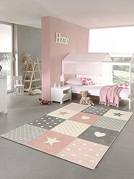 Nazar Tapis Pastel Kids A Motifs Coeur Et Etoile Pour Chambre Enfants Couleur Rose Gris Et Creme 120 X 170 Cm