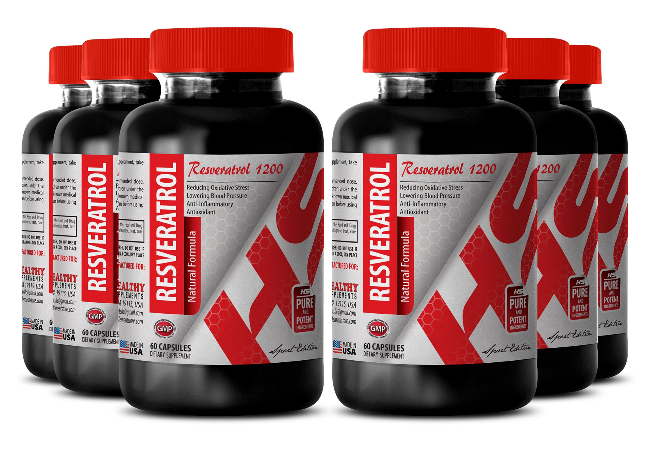 Red wine resveratrol - RESVERATROL RED WINE EXTRACT 1200 MG - boost endurance (6 Bottles) by Healthy Supplements LLC