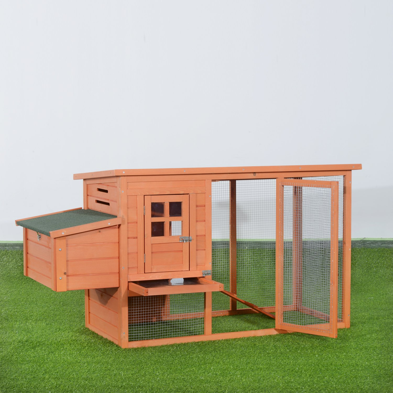 PawHut D51-034 Hühnerstall / haus / käfig Kleintierstall mit Freigehege Holz 2 Etage, natur