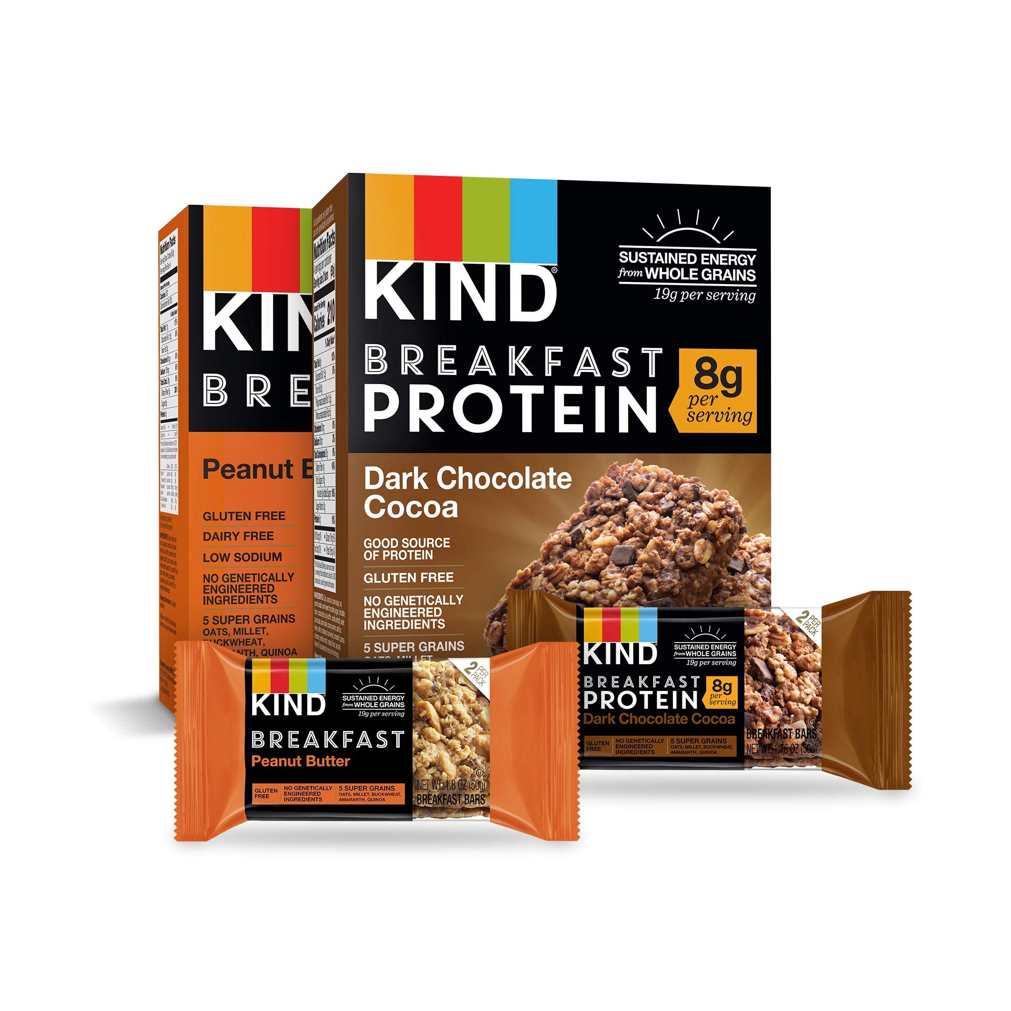 KIND Breakfast Bars Variety Pack, Dark Chocolate Protein & Peanut Butter, Gluten Free, 1.8 Ounce, 16 Count by KIND