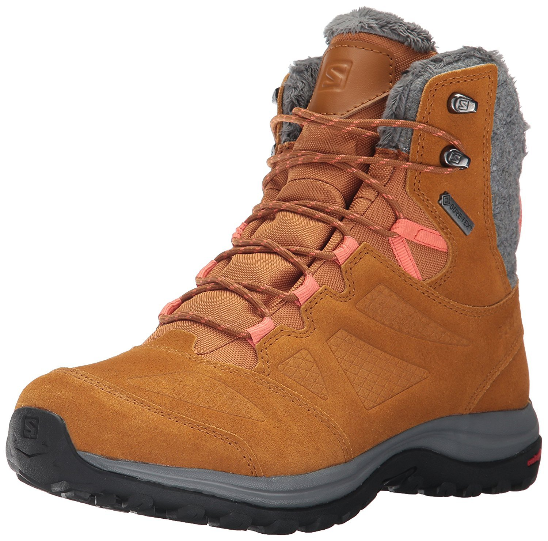 Salomon Women's Ellipse Winter GTX Snow Boot, Rawhide Leather/Rawhide Leather/Living Coral, 8 M US