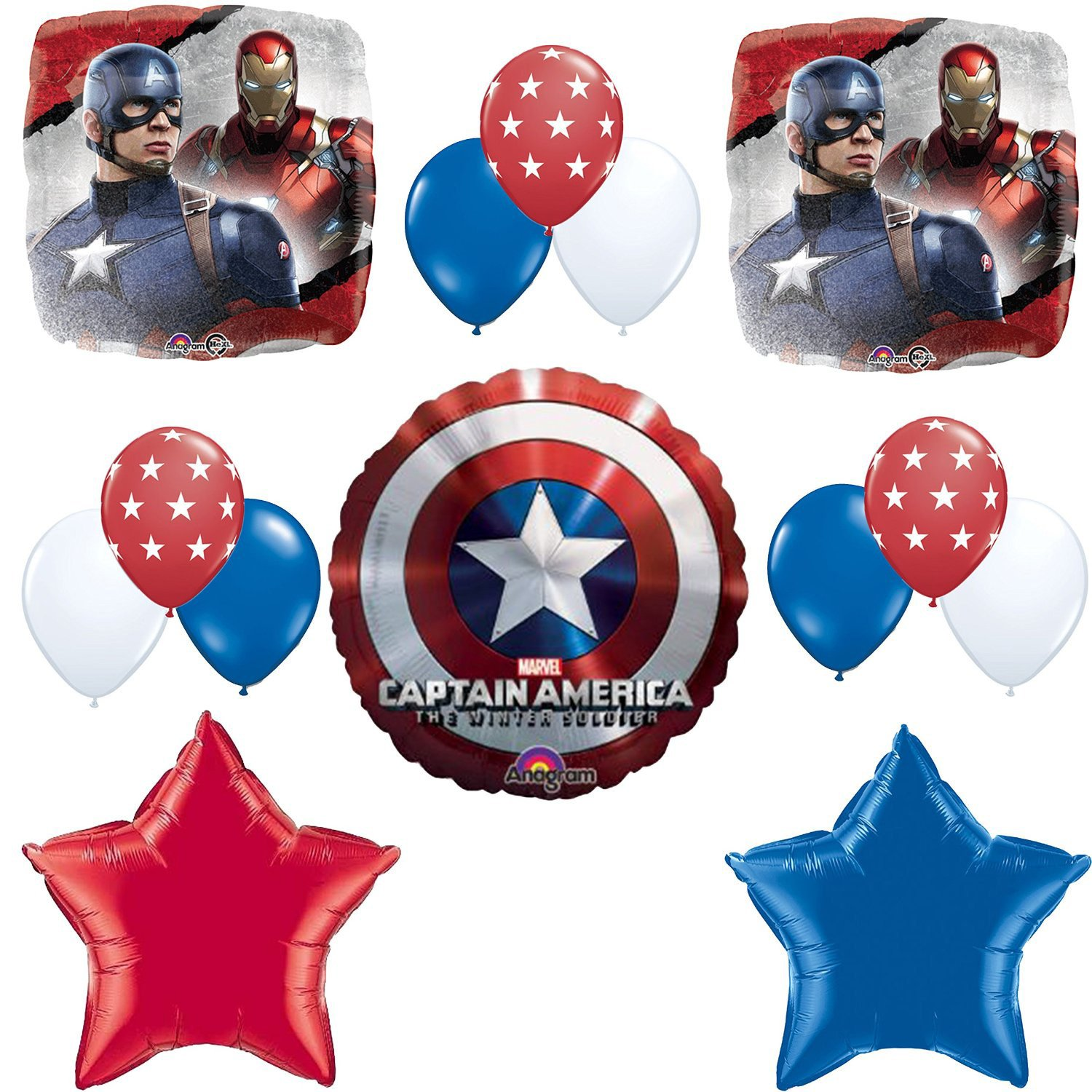 Captain America Birthday Party Balloon Decoration Kit by Mayflower Products