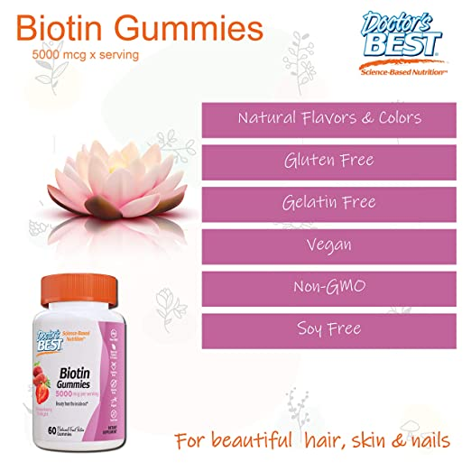 Doctors Best Biotin, 5000mcg Strawberry Delight - 60 ...
