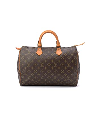 97e4360b519e Amazon.com  Women s Authentic Louis Vuitton Speedy 35 Brown Monogram Handbag   Clothing