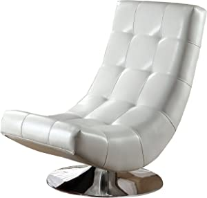 Furniture of America Graham Leatherette Armless Swivel Chair; White