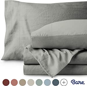 Bare Home Full Sheet Set - Premium 1800 Ultra-Soft Microfiber Bed Sheets - Double Brushed - Hypoallergenic - Stain Resistant (Full, Sandwashed Frost Grey)