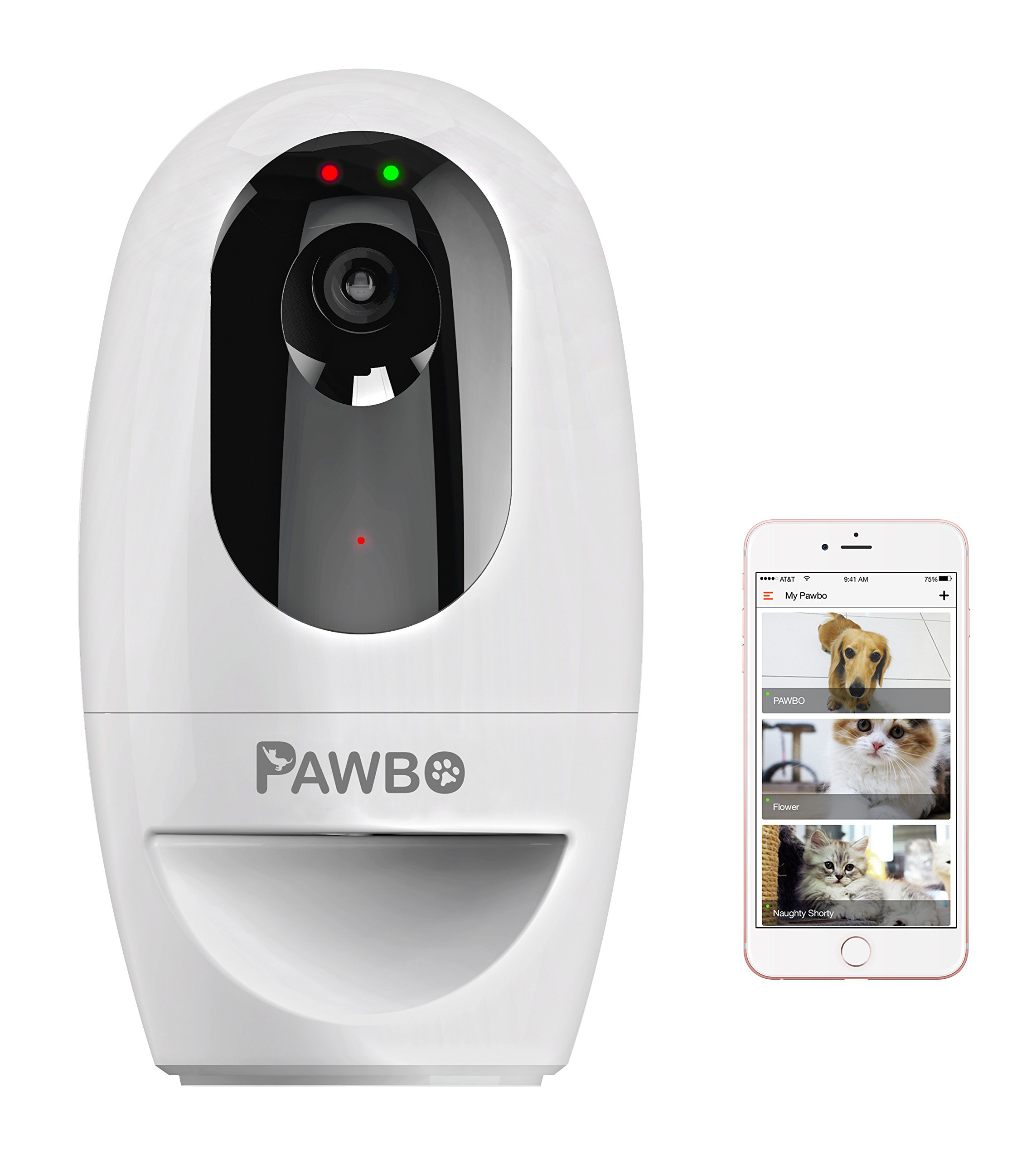 Pawbo Life Wi-Fi Pet Camera: 720p HD Video, 2-Way Audio, Video Recording, Treat Dispenser, and Laser Game by Pawbo