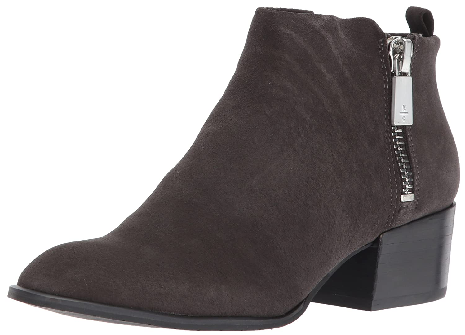 Kenneth Cole New York Women's Addy Western Double Zip Low Heel Suede Ankle Bootie B06ZYM67JY 5.5 B(M) US|Asphault