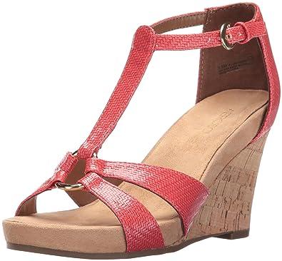 Aerosoles Women's Plush Ahead Wedge Sandal, Coral, ...