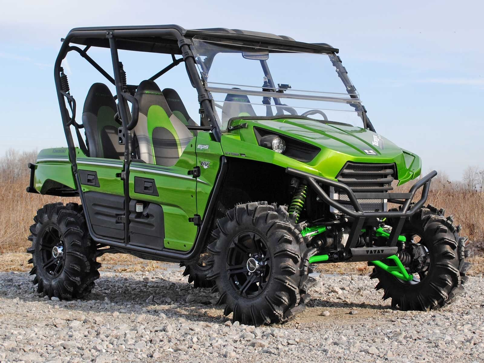 SuperATV High Clearance Forward Offset Front A-Arms for Kawasaki Teryx/Teryx 4 (See Fitment) - Green by SuperATV.com (Image #5)