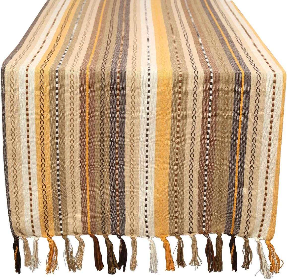 Hand Woven by Skilled Artisans Single Piece Mexican Multi-Colored Stripe Cotton Table Runner 16x72 with Decorative Fringes