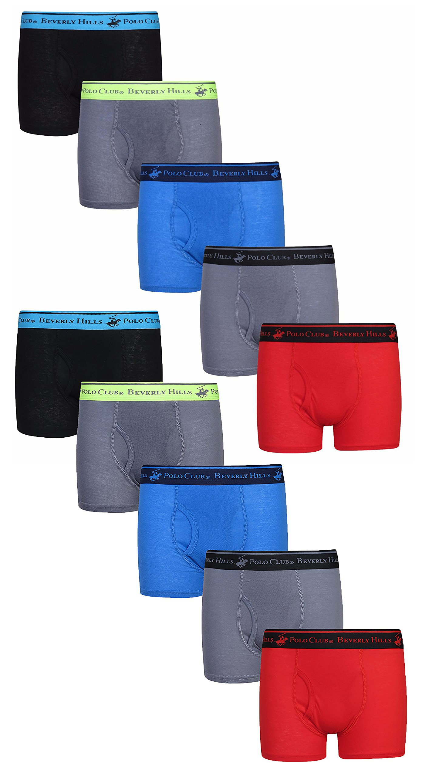 Beverly Hills Polo Club Boys' Solid Boxer Briefs, Assortment 2, Large / 12-14 (Pack of 10)