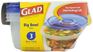 Glad Ware Big Bowl Containers with Lids, Round Size, 3 ct, 48 ounce