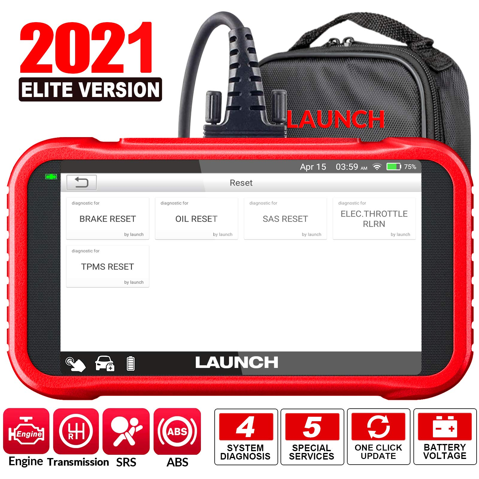 LAUNCH OBD2 Scanner-2021 New CRP129E Scan Tool for TCM Eng ABS SRS Code Reader, Oil/EPB/TPMS/SAS/Throttle Body Reset Diagnostic Tool with Carry Bag, AutoVIN WiFi Update,Upgraded of CRP123/CRP129