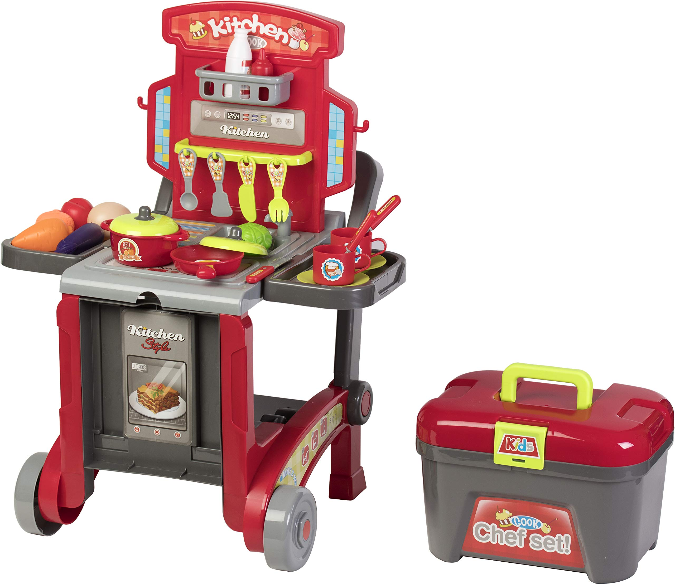 Kitchen Cook Grill Boys Playset Oven Stove, Vegetables, Pots & Pans, Cups, Utensils w/ Compact Carry Case by Kitchen Cook (Image #3)