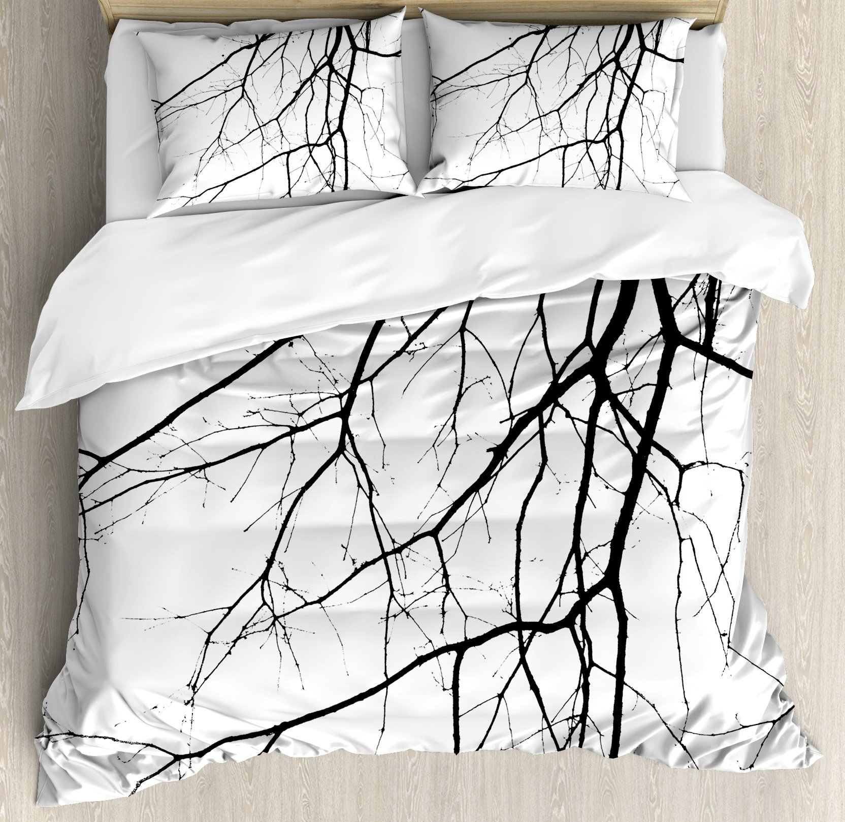 Ambesonne Black and White Duvet Cover Set King Size, Macro Leafless Winter Tree Branches Idyllic Twigs of Oak Nature Print, Decorative 3 Piece Bedding Set with 2 Pillow Shams, Black and White