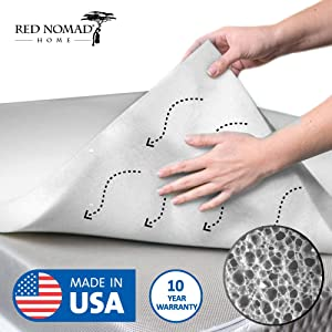 Red Nomad Memory Foam Mattress Pad 2 Inch - Full Size Mattress Topper for Back Pain Relief. Breathable, Comfortable Cooling Bed Pad/Made in The USA