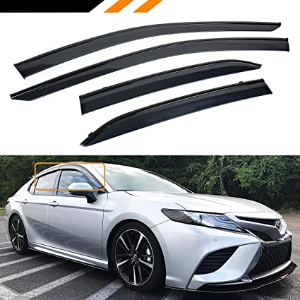amazon com cuztom tuning for 2018 2019 toyota camry le se xle xse clip on type sport black trim window visor rain guard deflector automotive