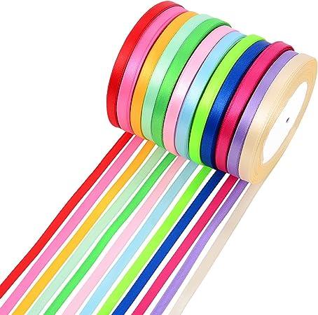 300 Yardas 6 mm Cinta de Tela de Doble Cara Rollo de Raso Satén de Seda, 12 Colores: Amazon.es: Hogar