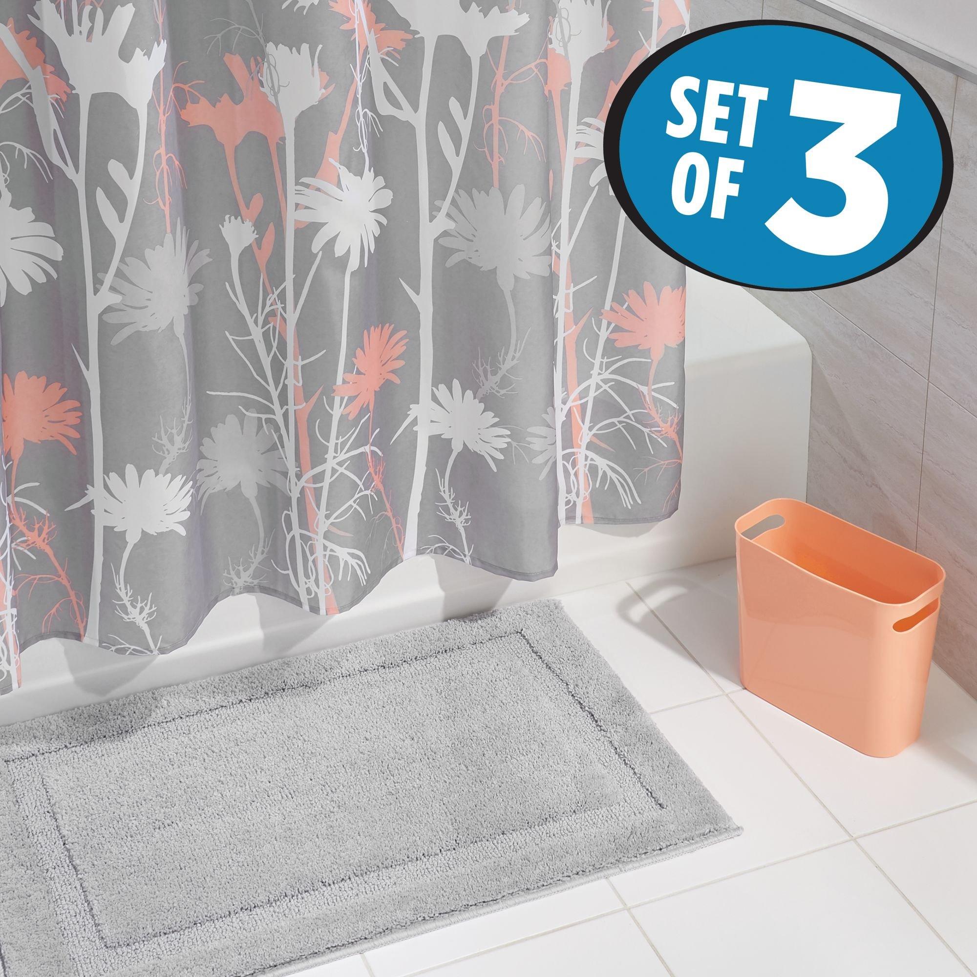 mDesign Bathroom Accessory Set, Flower Power Shower Curtain, Spa Bath Mat/Rug, Wastebasket Trash Can - Set of 3, Gray/Coral