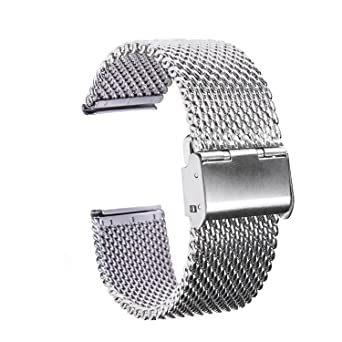 902cc912b58 Amazon.com  TFSeven 22mm Strap Bracelet Pin Buckle Silver Fashion DIY 304 Stainless  Steel Mesh Watch Bands  Watches