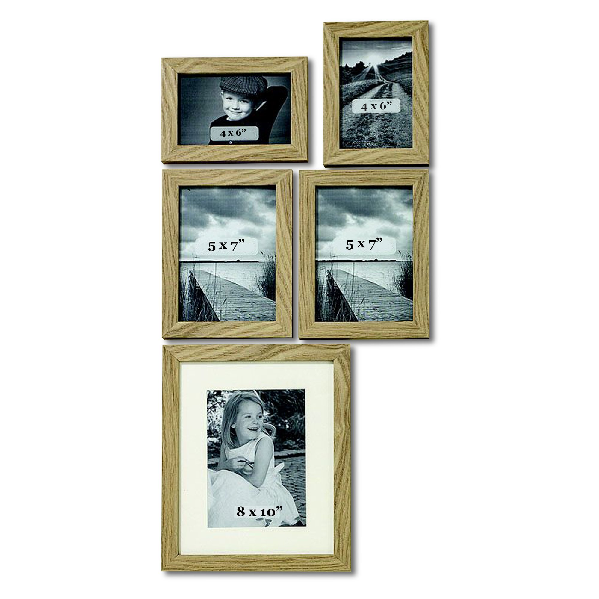 WHW Whole House Worlds Tribeca Gallery Frames, Set of 5, Assorted Sizes: 2/4 x 6, 2/5 x 7, and 1/8 x 10 Inches, Natural Wood, Clear Stain, Glass Insert, Boxed Set by WHW Whole House Worlds