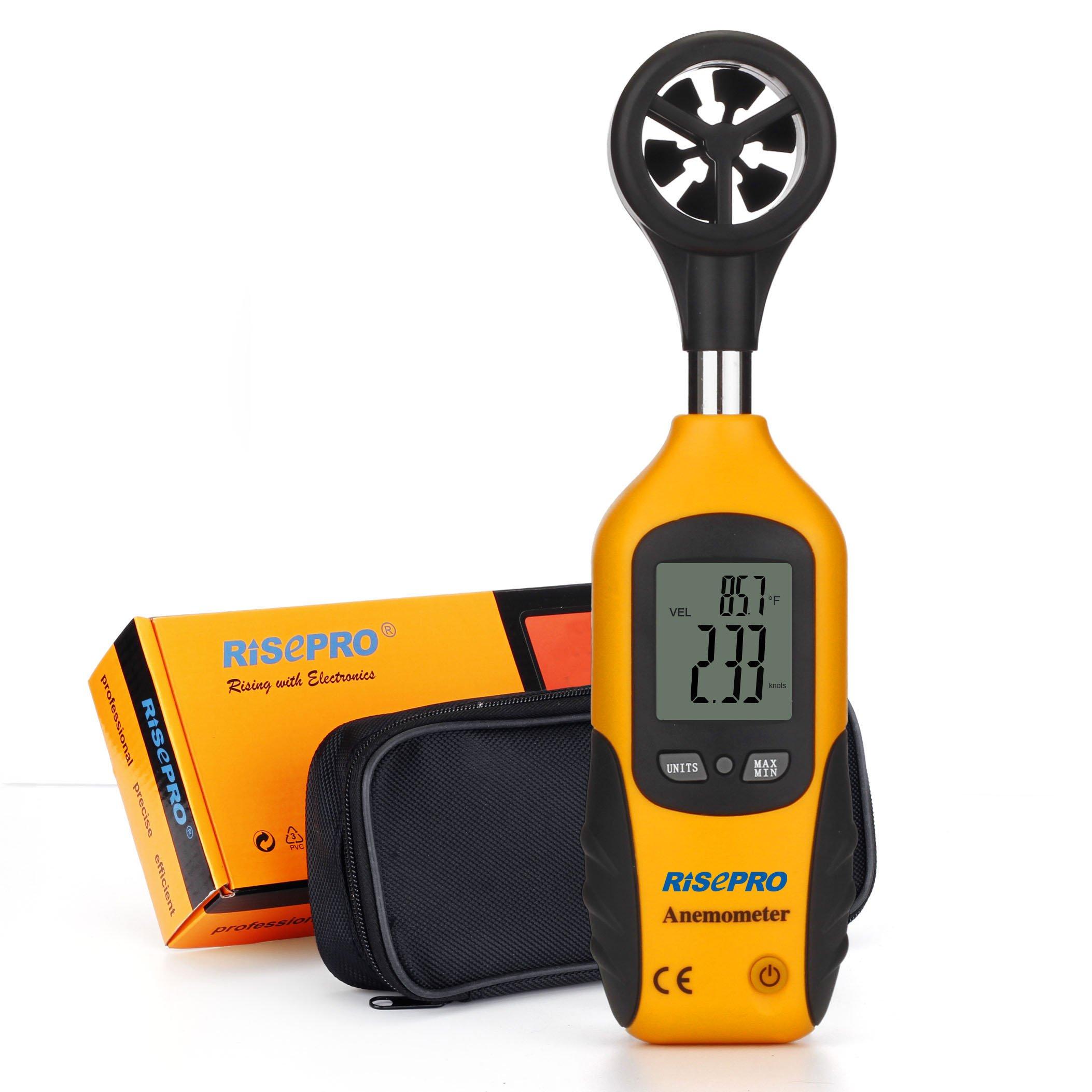 RISEPRO Anemometer, Digital Mini LCD Wind Speed Gauge Air Flow Speed Meter & Temperature Thermometer HT-81