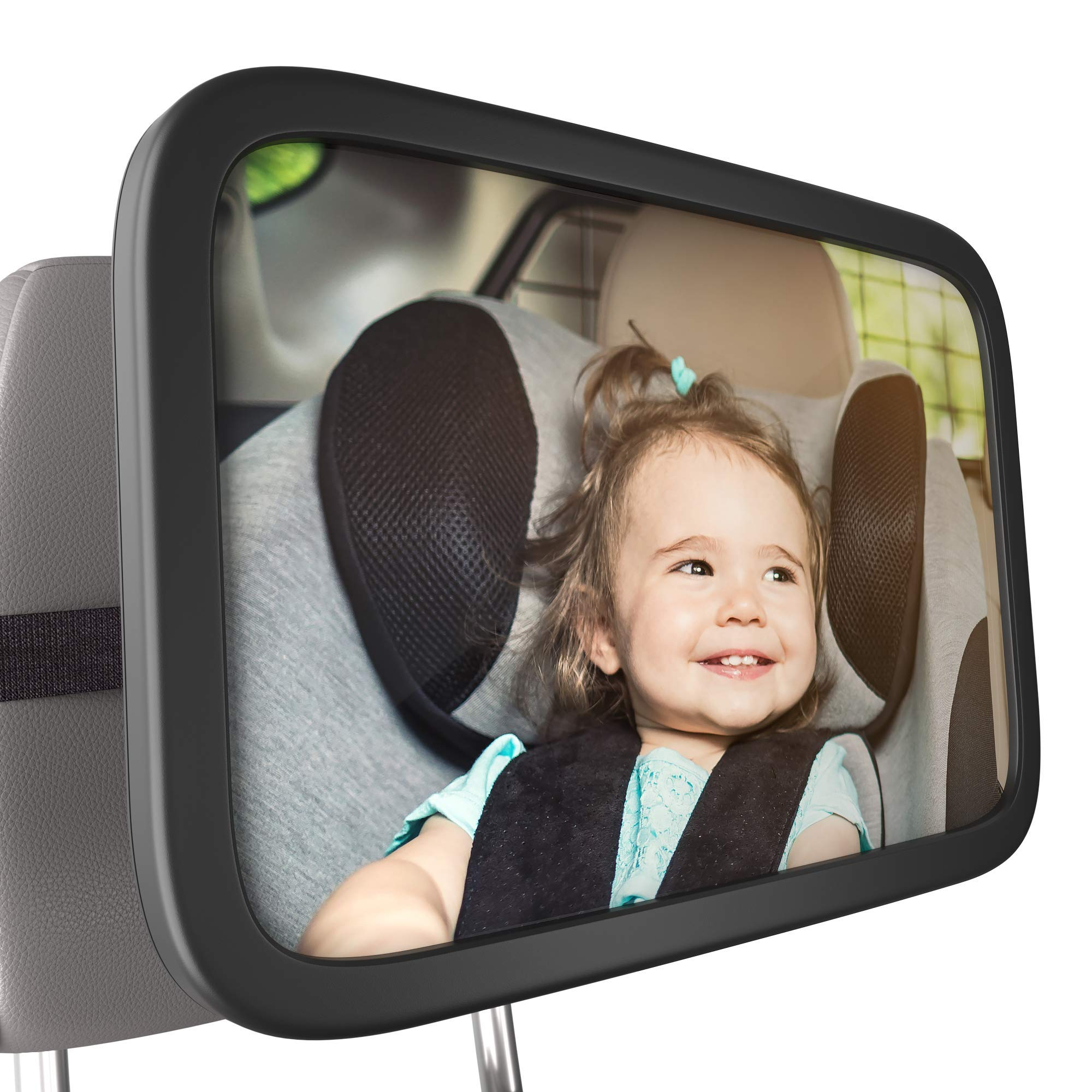 Bambinii Baby Mirror For Car- 360° Adjustable, Rear Facing Car Seat Mirror For Crystal Clear View Of Baby For Safe Driving - Shatterproof, Convex Backseat Safety Monitor Mirror For Newborns & Toddlers by Galactic Product Innovation