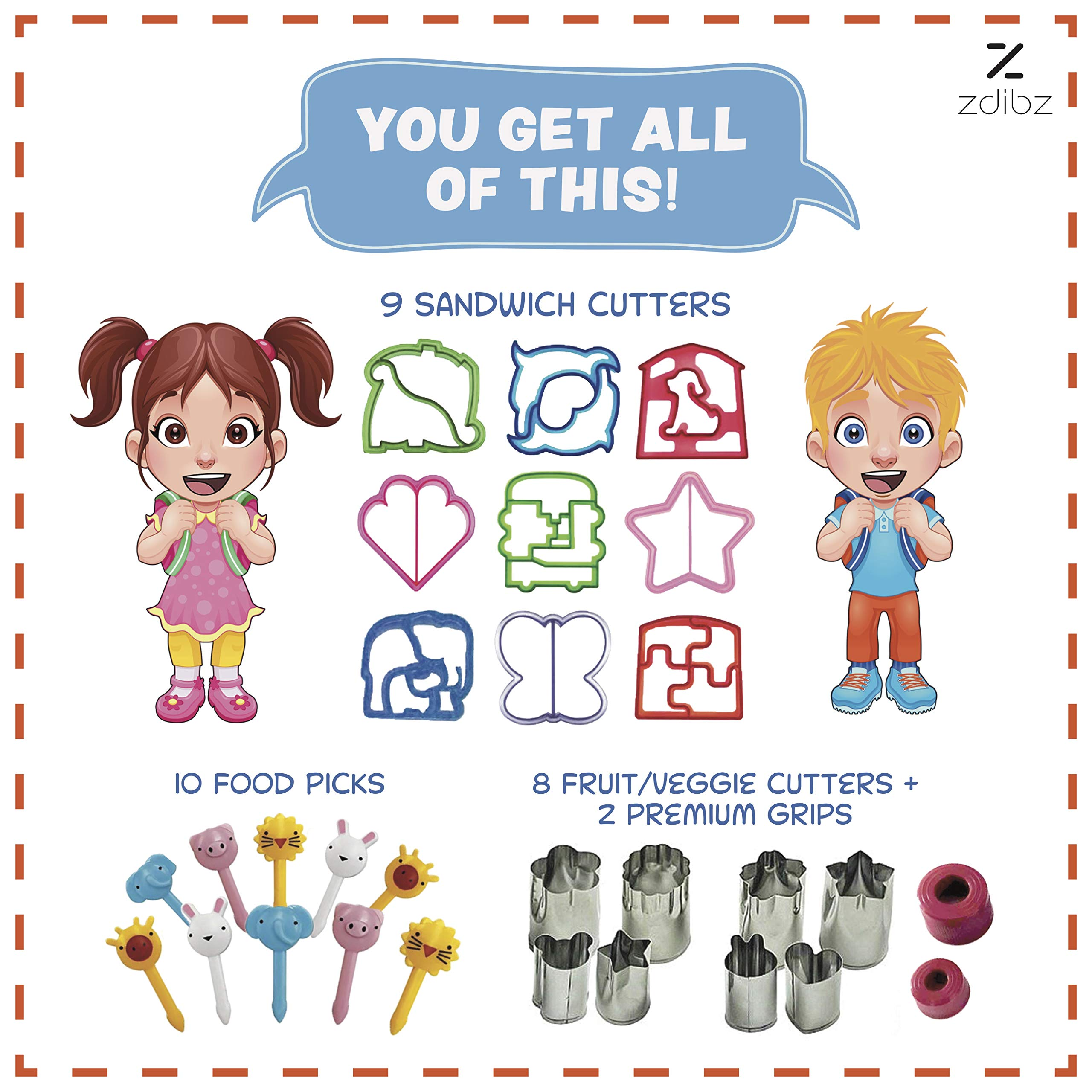 NEW Premium/Sturdy 29 Pc BPA Free Sandwich Cutter Set for Kids - Fun Bento Box Lunch Set For Boys, Girls & Toddlers - 8 Stainless Steel Fruit/Vegetable & Cookie Cutters - FREE 10 Food/Fruit Picks by zdibz (Image #2)