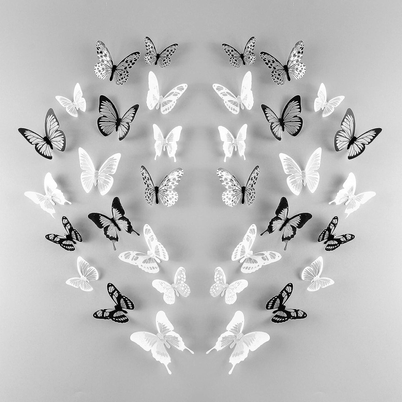 TUPARKA 72 Piezas 3D Mariposa Pegatinas de Pared Mariposas de Pared Arte de la Pared Pegatinas Para la Decoració n de la Habitació n DIY Craft