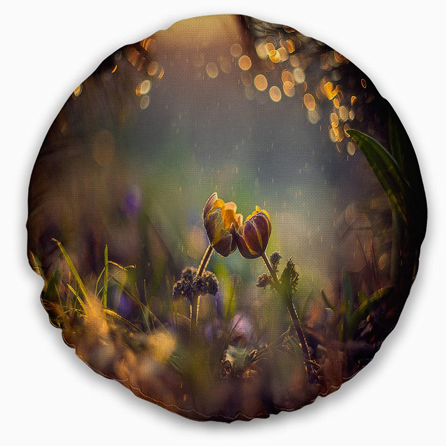 Sofa Throw Pillow 20 Designart CU6925-20-20-C Two Spring Flowers Floral Round Cushion Cover for Living Room