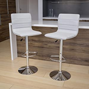 Flash Furniture 2 Pack Modern White Vinyl Adjustable Bar Stool with Back, Counter Height Swivel Stool with Chrome -Pedestal Base