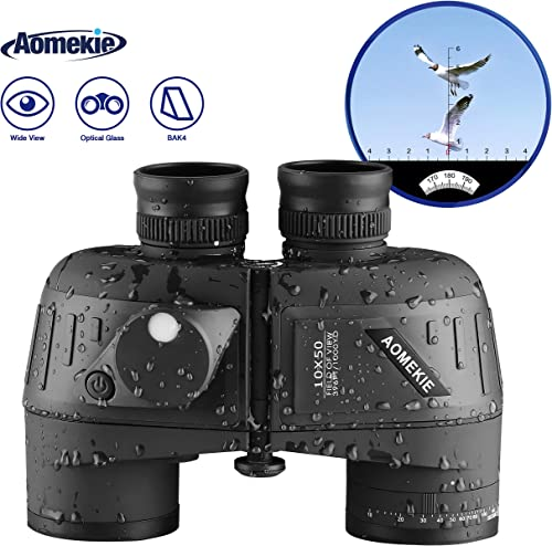 Aomekie 10×50 Binoculars for Adults Marine Military Binoculars Waterproof with Rangefinder Compass BAK4 Prism FMC Lens for Birdwatching Hunting Boating Black