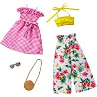 Barbie Fashions 2-Pack Clothing Set, 2 Outfits Doll Include Floral Wide-Legged Pants, a Yellow Bandeau Top, Pink Gingham…