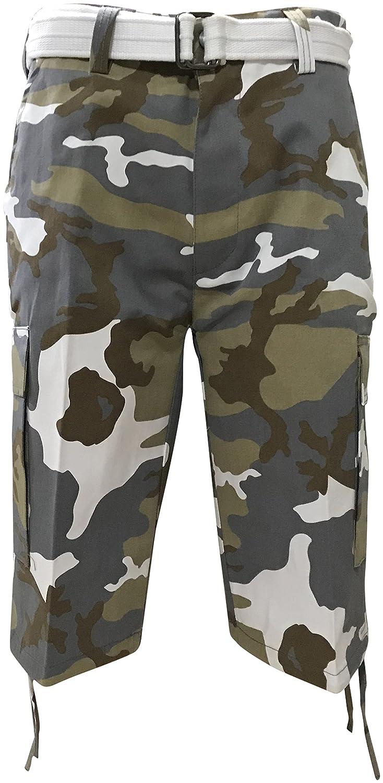3bab4514e1577 Regal Wear Mens Camouflage Cargo Shorts with Belt | Amazon.com